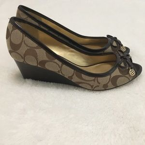 Coach Tan Brown Wedges Heels